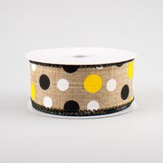 """The background of this woven canvas ribbon features color variations for texture and dimension in the natural beige shade. Pair it with yellow deco mesh, bumble bee sprays, flowers, and a """"Queen Bee"""" sign to complete your spring and summer wr Deco Mesh Ribbon, Wired Ribbon, Fabric Ribbon, Bee Spray, Craft Outlet, Halloween Deco Mesh, Bee Theme, Christmas Deco, Queen Bees"""
