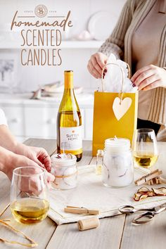 Light up your home with the relaxing glow and soothing scents of our Homemade Scented Candles, inspired by the aromas of Sutter Home Chardonnay. Homemade Scented Candles, Sutter Home, Light Up, Holiday Ideas, Alcoholic Drinks, Glow, Wine, Crafty, Inspired
