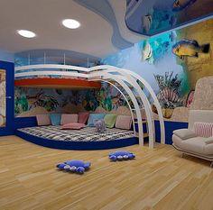 Два уровня в комнате помогут выделить дополнительное пространство для игровой зоны.Many ideas