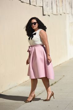 Girl with Curves - Bow Blouse, Tie-Waist Skirt, Leopard Pumps
