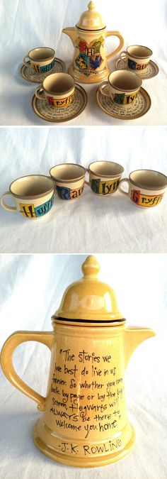 Harry Potter Hogwarts Crest Tea Set - J. Rowling Quote with Gryffindor, Slytherin, Hufflepuff, and Ravenclaw House Teacups and Saucers Harry Potter Tea Set Harry Potter Love, Harry Potter Hogwarts, Hogwarts Crest, Slytherin, Mischief Managed, Tea Time, Tea Party, Tea Cups, Cool Stuff