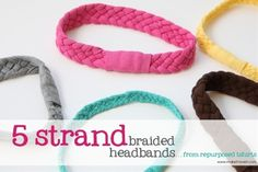 Re-purposing: Tshirts into 5-strand-braided-headbands | Make It and Love It