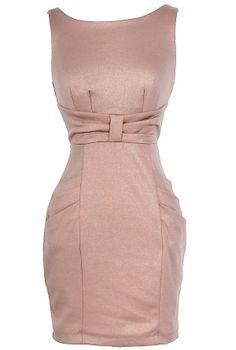 Femme Fatale Pocket Pencil Dress in Blush  www.lilyboutique.com