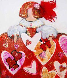 menina Illustrations, Tole Painting, American Art, All Art, Creative Art, Mixed Media, My Arts, Valentines, Nice Art