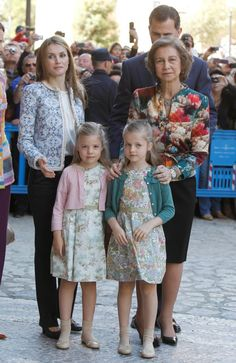 Queen Sofia, Crown Prince Felipe and Letizia and Infantas Leonore and Sofia at Easter Services 2013