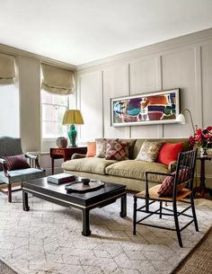 An 'Ivor' sofa by Howard & Sons in Soane's 'Old Flax' in kiwi is paired with an antique Sussex chair and a Gainsborough chair. A black lacquered coffee table from Shimu stands on a 'Berber Hex' wool rug by Luke Irwin. Decor, Georgian Homes, Cheap Home Decor, Bedroom Decor, Interior Design, Home Decor, House Interior, Room, Room Decor