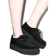 T.U.K. Suede Viva Mondo Creepers ($95) ❤ liked on Polyvore featuring shoes, t.u.k., creeper platform shoes, suede shoes, platform shoes and creeper shoes