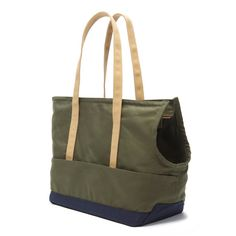 Canvas Pet Tote Olive & Navy  Dog Carrier by LoveThyBeast on Etsy, $160.00