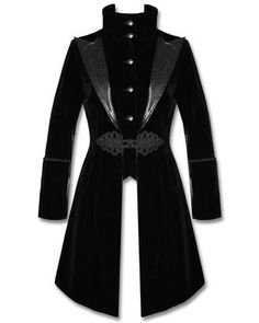 Exquisite Aristocrat tailcoat style jacket in soft black velveteen fabric. Front button fastening with high, funnel collar, plus black patterned faux leather lapels. Ornate Victorian style braiding detail at waist with toggle fastening and pointed front hamline. Long sleeves with faux leather contrast and braiding detail at cuffs, finished perfectly with fixed buttoned faux leather strap to the back!