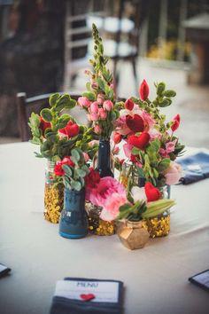 Mariage orangerie mariage blanc bouquets acidul s centre de table color s - Idee centre de table mariage ...