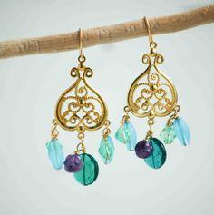 Beaded Blue Chandelier Earrings Amethyst Green by redtruckdesigns