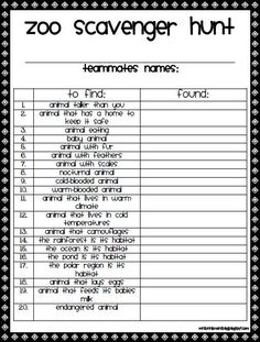 It's just a photo of Monster Zoo Scavenger Hunt Printable