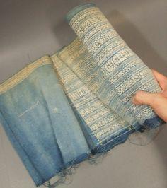 RARE VINTAGE Fabric Batik HEMP HMONG Tribal Ethnic Textile Table Runner