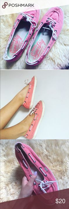 Super dry flats with laces ❤️Cute superdry flats❤️ ❣️Comfortable and great for the summer ❣️Cute shoelaces circle around the top                        and tie in the front ❣️Cute pink watermelon color ❣️No rips or stains just need to be      cleaned Superdry Shoes Flats & Loafers