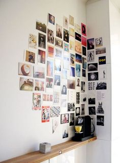 An assortment of vertical and horizontal photos optimize the corner space of any room.