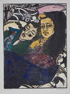 """ Erich Heckel (German, 1883 - 1970) Two resting girls (Zwei Ruhende), 1931 Woodcut and watercolor, on wove paper, 65.8 x 50 cm Museum Kunstpalast, Düsseldorf, Germany """