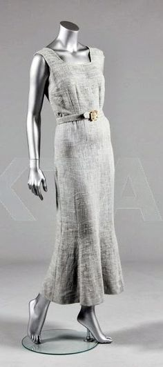 ~Schiaparelli Dress - FW 1937 - by Elsa Schiaparelli - Blue-grey linen - Kerry Taylor Auctions~