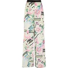 River Island Womens White floral print palazzo trousers