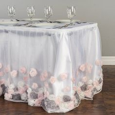 Check out the deal on 14 ft. Tulle Rose Table Skirt Neapolitan at Linen Tablecloth