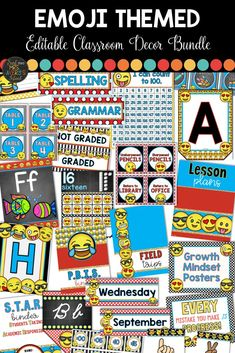 This emoji themed classroom decor bundle is guaranteed to give you and your students ALL THE FEELS for keeping you organized throughout the school year!  Whether you are heading back to school or simply looking for some organizational ideas during the middle of the year, this editable bundle includes ALL your back to school printables to personalize your classroom and suit your needs.  #emoji #classroomdecor #decor #backtoschool #emojis #classroommanagement #classroomorganization