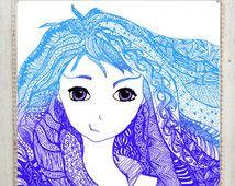 Chica de la maraña de Zen Ombre pelo púrpura azul anime doodle mano dibujado/digital arte de la pared decoración de las habitaciones adolescentes instantánea descargar cartel