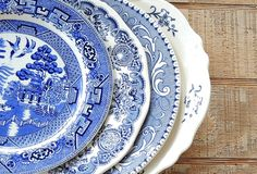 Mismatched Blue and White Dinner Plates for by RosebudsOriginals