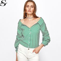aba3cc5c926ef8 Sheinside Vertical Striped Tunic Shirt Green Long Sleeve Blouse 2017 Button  Up Lapel Women Tops Casual Fall Office Work Blouse
