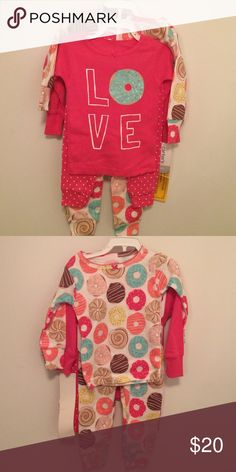 BNWT 2sets of Play Clothes by Carters, size 6mos Selling this 2 sets of Carters long sleeves play clothes with donut design studio sz 6mos Carter's Matching Sets