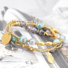 Schöner Schmuck mit melierten Glasperlen, Quaste, Rocailles und schöne DQ Metall Perlen und Anhänger!