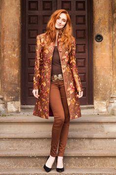 Silk Grace Coat in Burnt Umber by ShibumiStyle on Etsy, Batik Fashion, Hijab Fashion, Fashion Dresses, Silk Coat, Silk Jacket, Coats For Women, Jackets For Women, Clothes For Women, Kurta Designs