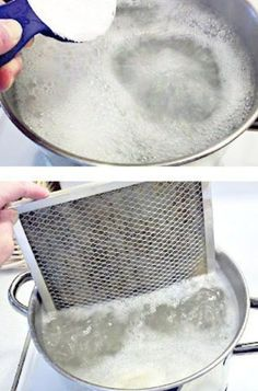 Is The Easiest Way To Clean Your Range Hood Filter How to clean that greasy stove vent filter!How to clean that greasy stove vent filter! Household Cleaning Tips, Household Cleaners, Cleaning Recipes, House Cleaning Tips, Spring Cleaning, Cleaning Hacks, Cleaning Supplies, Kitchen Cleaning, Kitchen Tips