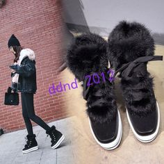 Women Winter Real Rabbit fur Lining Lace Up High Top Snow Ankle Boots Shoes Shoe Boots, Ankle Boots, Punk Shoes, Rabbit Fur, Shoe Size Chart, High Tops, Lace Up, Snow, Sandals
