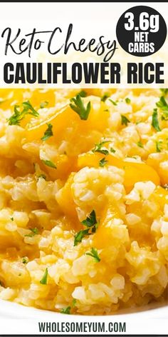 Cheesy Cauliflower Rice Recipe - A keto cheesy cauliflower rice recipe for a healthy way to get your mac fix! Cauliflower rice mac and cheese needs just 5 ingredients and 10 minutes to make. #wholesomeyum #keto #ketorecipes #cauliflower #cauliflowerrecipes #cheese #cheddar #5ingredients Riced Califlower Recipes, Califlower Mac And Cheese, Keto Mac And Cheese, Coliflower Recipes, Califlower Rice, Healthy Rice Recipes, Real Food Recipes, Keto Recipes, Chicken Recipes