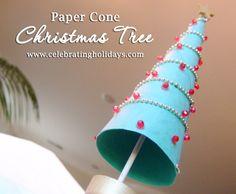 Paper Cone Christmas Tree DIY Craft | Celebrating Holidays