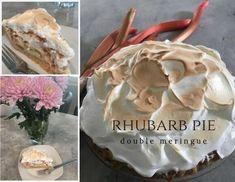 Double Meringue Rhubarb Pie @thepincook.com Rhubarb Pie, Meringue, Icing, Sweets, Cooking, Desserts, Blog, Recipes, Sweet Pastries