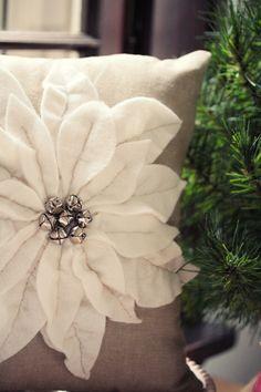 Felt Poinsettia Christmas Pillow