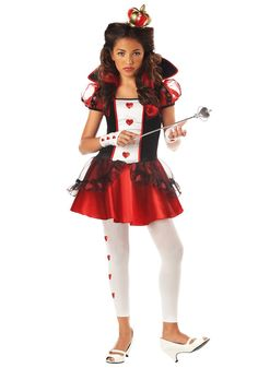 Take on Alice and the Mad Hatter as the Queen of Hearts this Halloween. The Queen of Hearts Costume dress is mid thigh length and features a red, black and white bodice with collar, puffy sleev Queen Of Hearts Halloween Costume, Tween Halloween Costumes, Fete Halloween, Cute Costumes, Girl Costumes, Halloween City, Group Halloween, Movie Costumes, Easy Halloween
