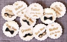Wedding badges ID badges for team groom and team bride is a trending style to help your guests identify your people in case they need any help. You can make your loved ones look fancy with customized badges and funky emblems in your convivial moments. Wedding Gifts For Bride And Groom, Wedding Gifts For Guests, Bride Gifts, Wedding Favours, Wedding Bells, Desi Wedding Decor, Indian Wedding Decorations, Stage Decorations, Wedding Stage
