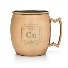 The copper mug is crucial to the creation of a Moscow Mule, one of the most popular drinks of the 1950s and 60s, which is making a resurgence, so we celebrate it with our Periodic Copper Mug.
