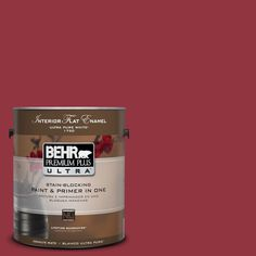 BEHR Premium Plus Ultra 1-gal. #UL100-6 Red Velvet Interior Flat Enamel Paint