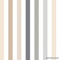Papel de parede Decoração Listrado Origini 144-73, Wallpaper, Importado, Lavável, Superfície lisa,Branco, Tons de Bege e Cinza