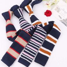 Mantieqingway Fashion Neckwear Business Wedding Grooms 6 cm Skinny Necktie for Suits Shirt Striped Pattern Knitting Ties for Men