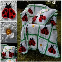 Ladybug Crochet Blanket and Pillow Set - lots of free patterns in our post