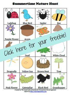 FREE Summertime Nature Scavenger Hunt Printable | #nature #homeschool
