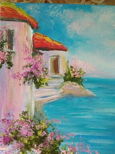 Impasto painting Impasto flowers art Xmas gift for her Seascape Original oil canvas Small landscape Mini Paintings, Landscape Paintings, Original Paintings, Love Painting, Oil Painting On Canvas, Henri Matisse, Gouache, How To Make Canvas, Small Canvas Art