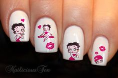 Betty Boop Nail Wraps Art Water Transfer Decal by NailicioustenEU Union Jack, Red Nails, Hair And Nails, Flamingo Nails, Purple Daisy, Daisy Flowers, Butterfly Nail, Nail Accessories, Gel Nail Designs