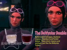 The DeWynter Double – Kiki and Viola DeWynter. For Kiki: oz White Creme de Cao, oz Butterscotch Schnapps, oz Frangelico Hazlenut Liqueur. For Viola: oz Chambord, oz Peach Schnapps, oz Parfait Amour. Yummy Snacks, Yummy Drinks, Non Alcoholic Drinks, Cocktails, Saints Row, Peach Schnapps, Its My Bday, Drinking Games, Baking Tips