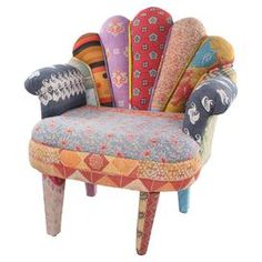 One-of-a-kind peacock chair made from reclaimed vintage kantha throws and mango wood framing.