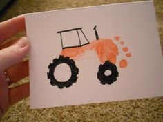 Jayson Woodard DIY: Father's Day Card craft making a tractor for Dad from young kid's footprint. Great for new Father. I'd probably use green ink for the John Deere Green Tractor influence. Or the song I want a ride on your green tractor! Kids Crafts, Projects For Kids, Crafts To Make, Craft Projects, Family Crafts, Preschool Crafts, Footprint Art, Daddy Day, Craft Kids