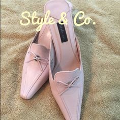 Style & Co mules Pink, 2 inch heels, great condition💋👠Barbie doll pink of course 💁 Style & Co Shoes Heels